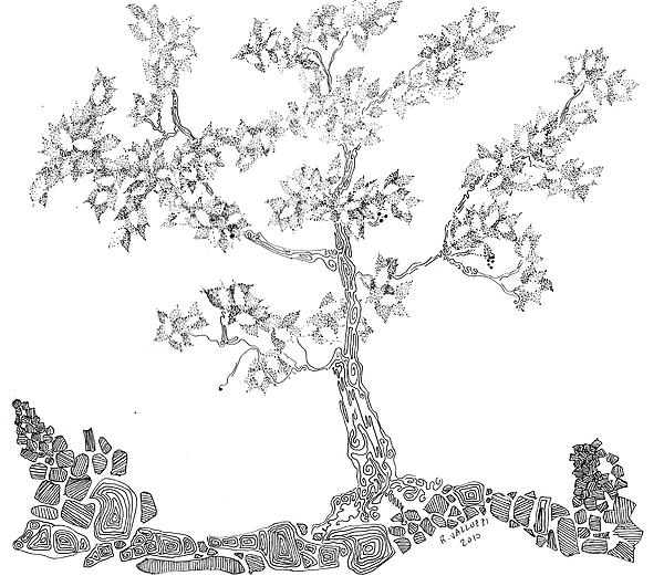 Tree Painting - Leafy Jewels by Regina Valluzzi