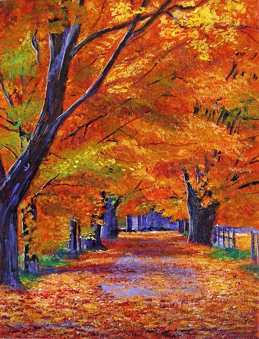 Landscape Painting - Leafy Lane by David Lloyd Glover