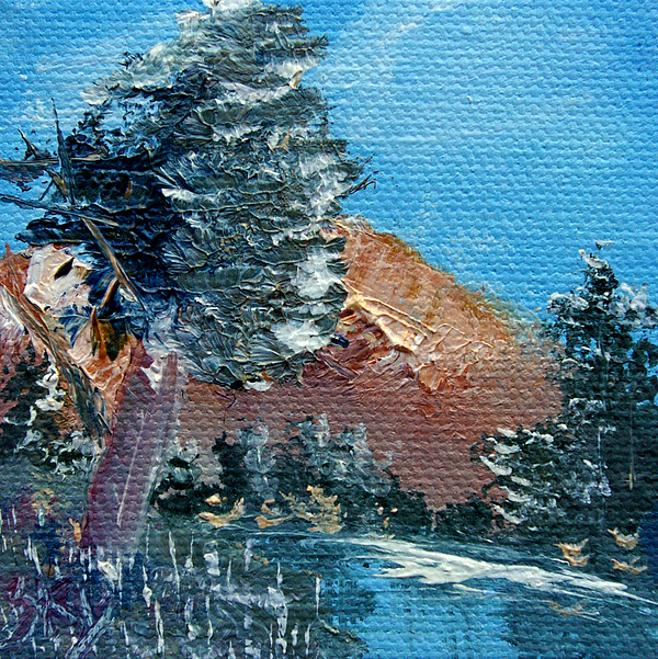 Landscape Painting - Leaning Pine Tree Landscape by Jera Sky