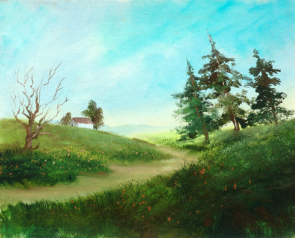 Country Painting - Leaning Trees by Sally Seago