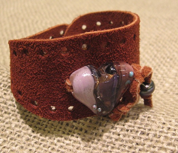 Nicola Makes The Most Awesome Lampwork Beads.  Here Jewelry - Leather And Lampwork Cuff by Nicola Meeks