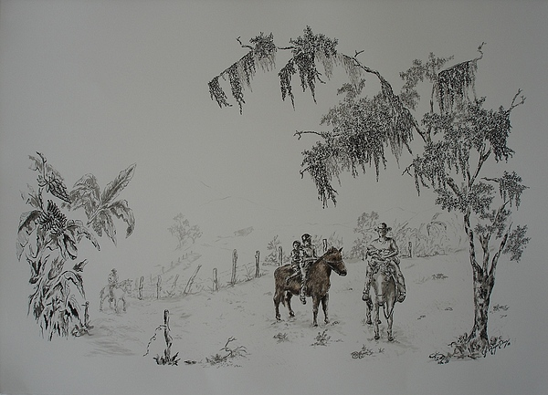 Landscape Drawing - Leaving Home by Gloria Reyes Diaz
