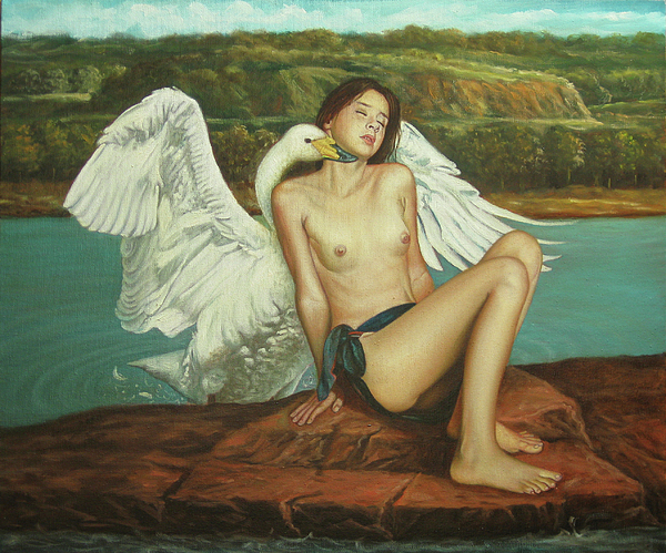 Leda And The Swan Painting - Leda And The Swan - Passionate by Giovanni Rapiti