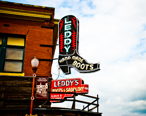 Neon Sign Photograph - Leddys Boots by David Waldo