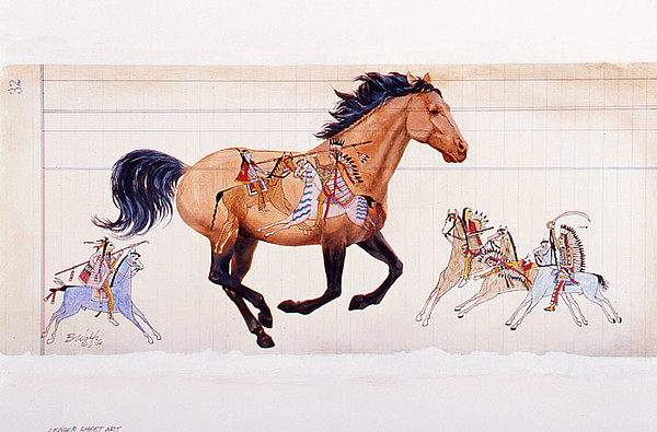 Horse Painting - Ledger Sheet Pony by Bassel Wolfe