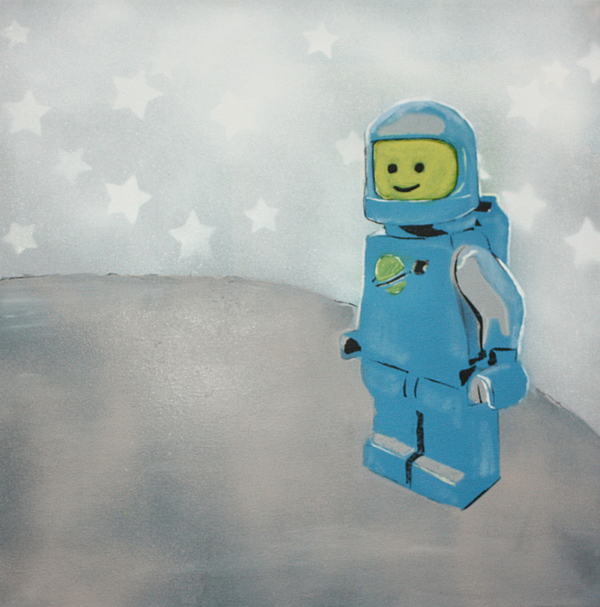 Lego Man On The Moon Painting by Wall Kandi