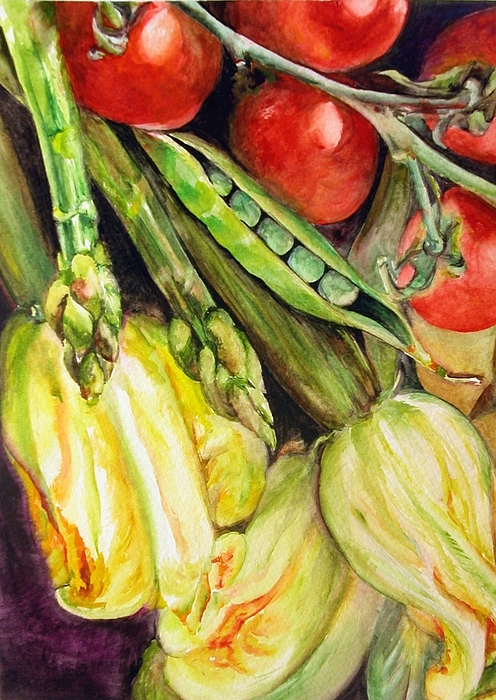 Still Life Painting - Legumes by Muriel Dolemieux