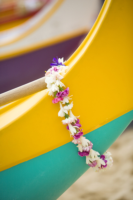 Ashore Photograph - Lei Draped Over Outrigger by Dana Edmunds - Printscapes