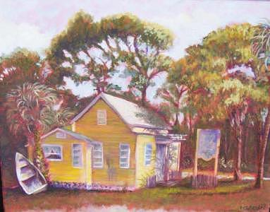 Plein Air Painting - Lemon Tree Gallery by Clare Harvey