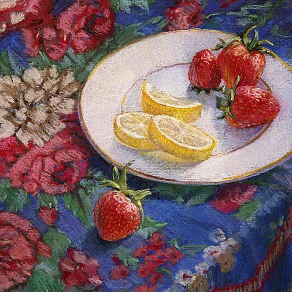 Still Life Painting - Lemons N Berries by L Diane Johnson