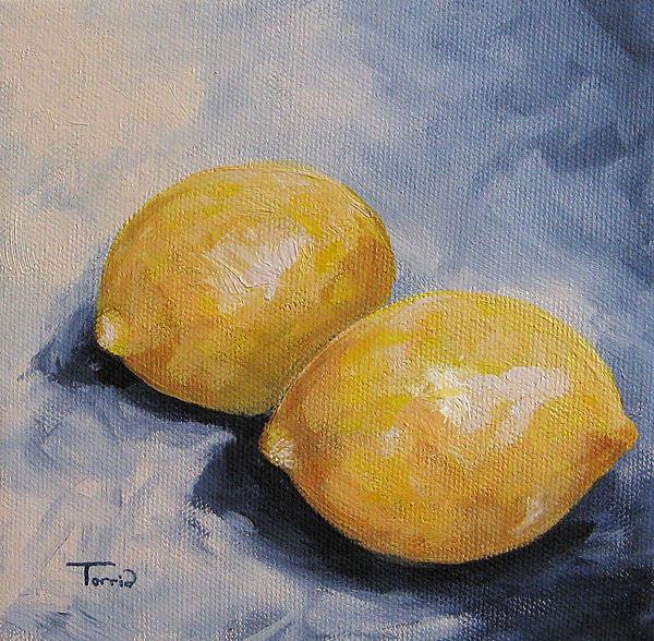 Lemons Painting - Lemons On Blue  by Torrie Smiley