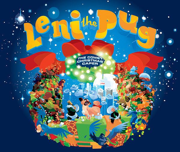 Children's Book Digital Art - Leni The Pug Book Cover by Alexandru Sacui