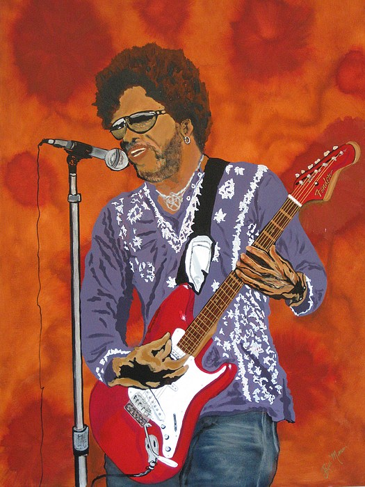 Lenny Kravitz Painting - Lenny Kravitz-the Rebirth Of Rock by Bill Manson
