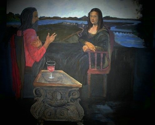 Oil On Canvas Painting - Leonardo Talking To Mona by Jack Bauer