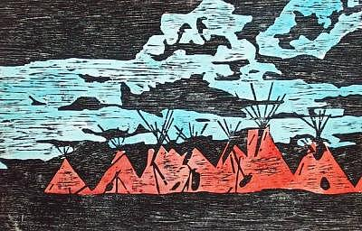 Woodcut Drawing - Les Tentes Rouges by Dominique Lecomte