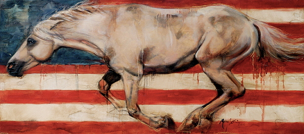 Flag Horse Painting - Let Freedom Run by Mary Leslie