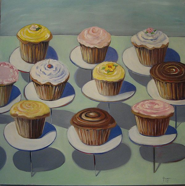 Let Them Eat Cupcakes Painting by Yvonne Dagger