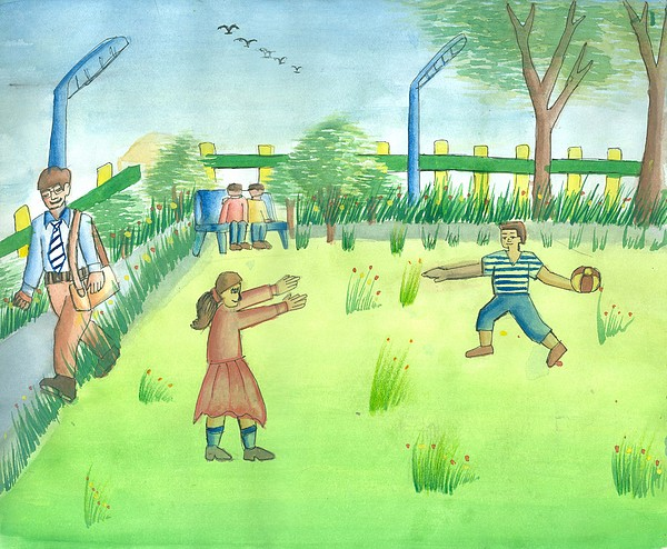 Walking Man Painting - Let Us Play by Tanmay Singh