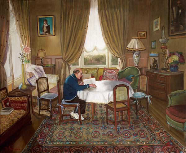 Oil Painting Painting - Lhomme Qui Lit by Dominique Amendola