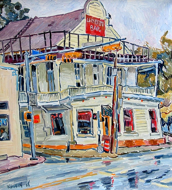 Liberty Bar Painting - Liberty Bar In San Antonio. Rainy Day. by Vitali Komarov