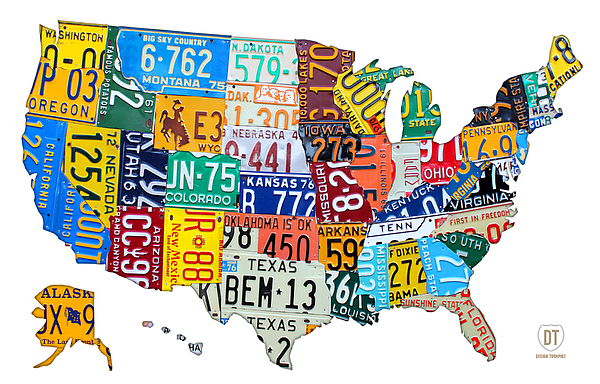 License Plate Map Mixed Media - License Plate Map Of The United States Outlined by Design Turnpike