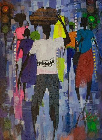Africa Painting - Life In Africa by Mekbib Geberstadik