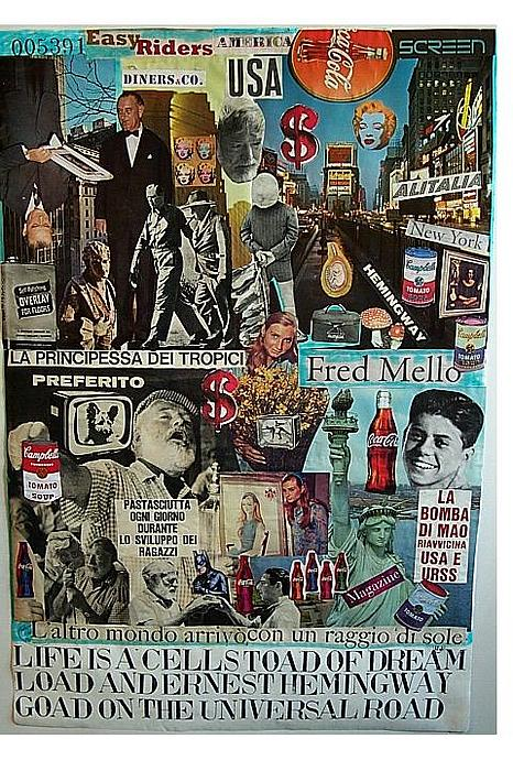 Ernest Hemingway Mixed Media - Life Is A Cell Toad Of Dream Load And Ernest Hemingway Goad On The Universal Road by Francesco Martin