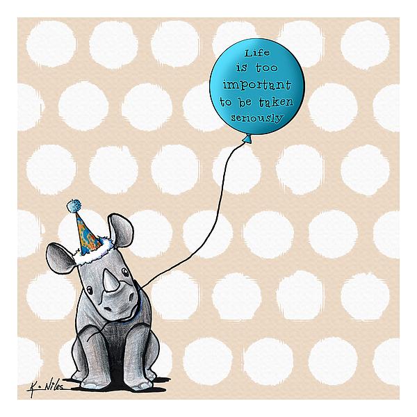 Rhino Drawing - Life Is by Kim Niles