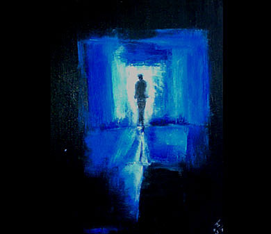 Figurative Abstract Painting - Light Blue by Talal  Ghadban
