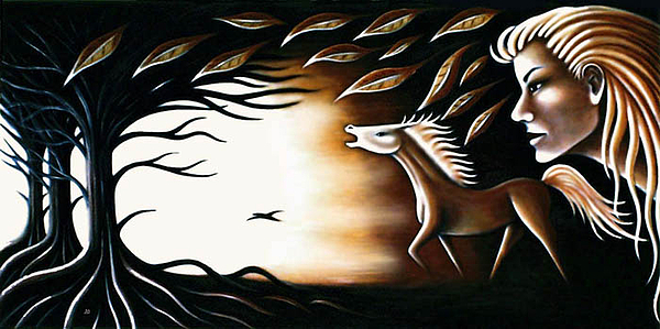 Wood Painting - Light In The Dark by Erla Alberts