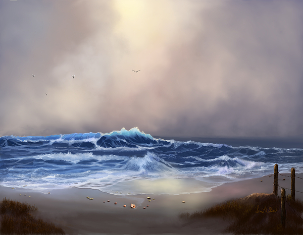 Ocean Painting - Light In The Storm by Sena Wilson