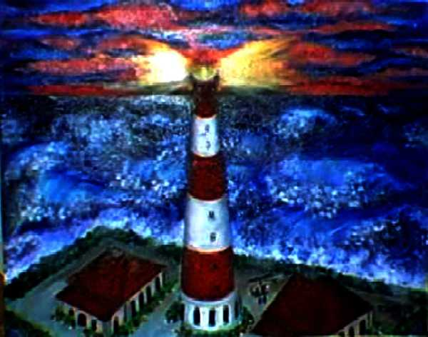 Lighthouse Print - Light In The Storm by Tanna Lee M Wells