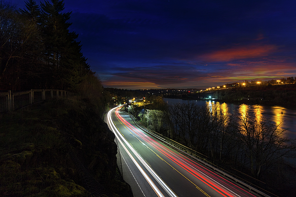 Light Photograph - Light Trails On Highway 99 by David Gn