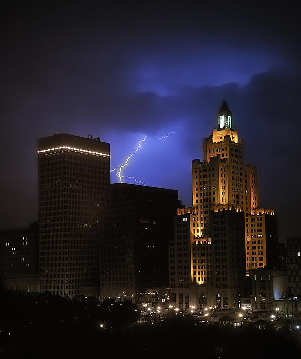 Lightening Photograph - Lightening Over Providence by Vicki Jauron