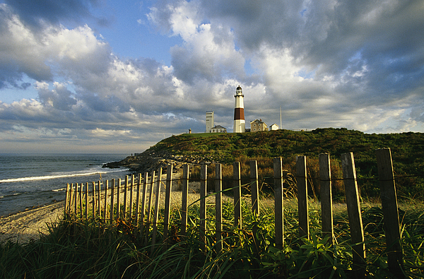 North America Photograph - Lighthouse At Montauk With Dramatic Sky by Skip Brown