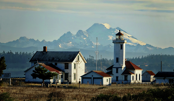 Lighthouse Photograph - Lighthouse Before Mountain by Rick Lawler