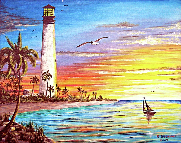 Lighthouse Painting - Lighthouse Sunrise by Riley Geddings