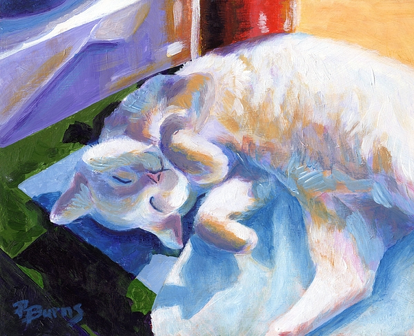 Cat Painting - Lightly Napping by Pat Burns