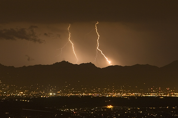 Tucson Photograph - Lightning Bolt Strikes Out Of A Typical by Mike Theiss