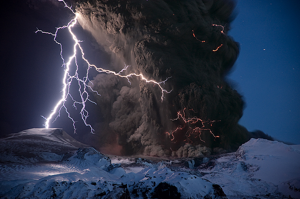 Europe Photograph - Lightning Pierces The Erupting by Sigurdur H Stefnisson