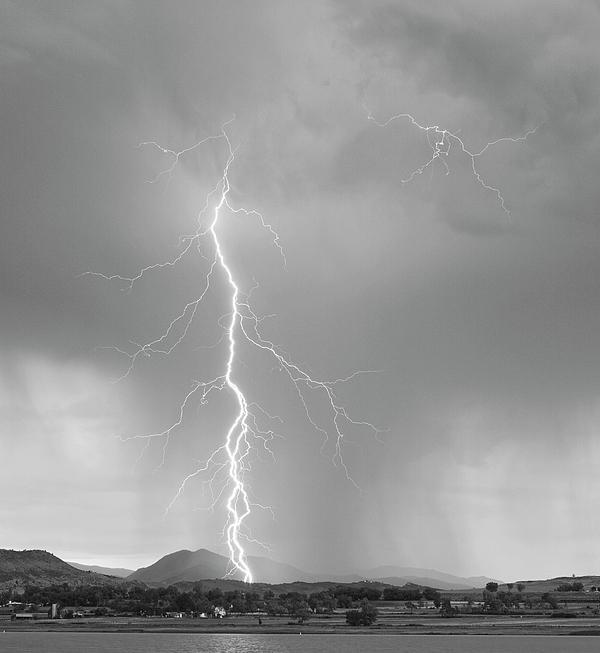 July Photograph - Lightning Strike Colorado Rocky Mountain Foothills Bw by James BO  Insogna