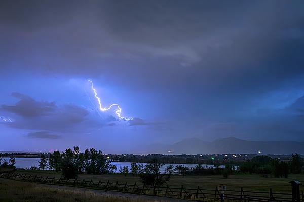 Nature Photograph - Lightning Striking Over Boulder Reservoir by James BO Insogna