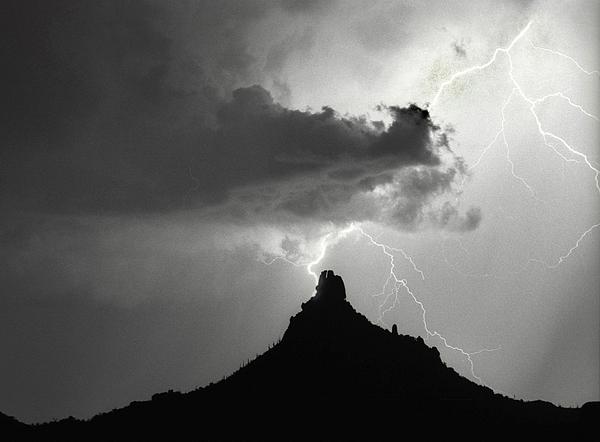 Pinnacle Peak Photograph - Lightning Striking Pinnacle Peak Arizona by James BO  Insogna
