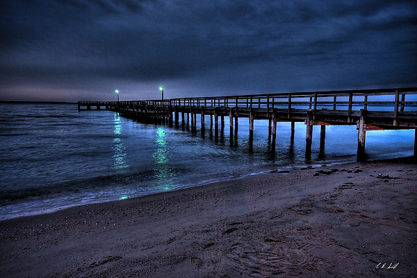 Water Photograph - Lights At The End Of The Pier by E R Smith