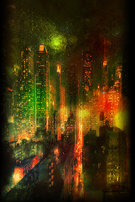 City Painting - Lights In The City by Emma Alvarez