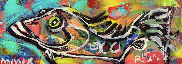 Contemporary Painting - Lil Funky Folk Fish Number Eleven by Robert Wolverton Jr