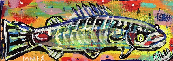 Contemporary Painting - Lil Funky Folk Fish Number Ten by Robert Wolverton Jr
