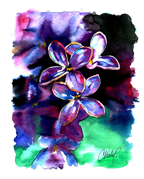 Lilac Painting - Lilac Blossom by Christy  Freeman