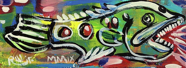 Contemporary Painting - Lilfunky Folk Fish Number Thirteen by Robert Wolverton Jr