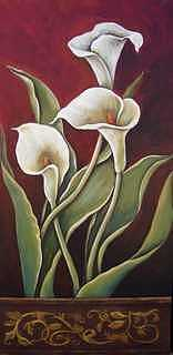 Original Painting - Lilies Still Life 2 by Ekapon Poungpava